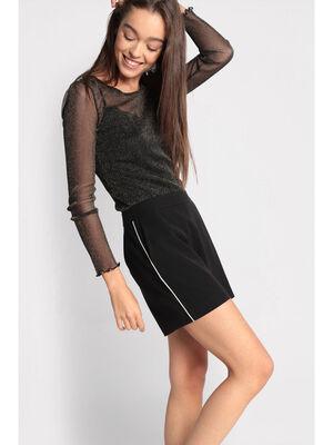 Short droit liseres metallises noir femme