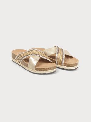 Sandale plateforme a bride beige femme