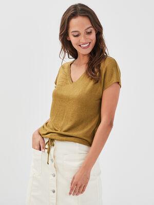 T shirt manches courtes vert olive femme