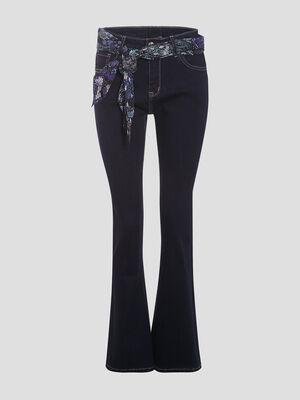Jeans bootcut ceinture denim brut femme