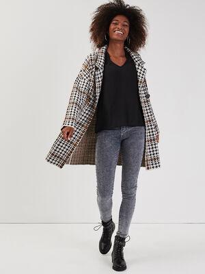Gilet manteau boutonne ecru femme