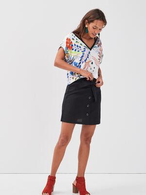 Jupe ceinturee lin noir femme