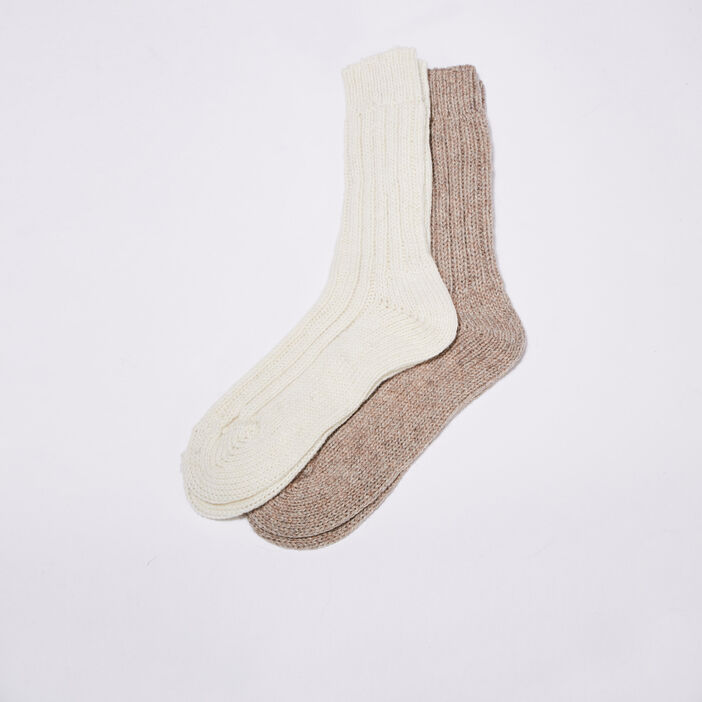 Chaussettes tricotées ecru femme
