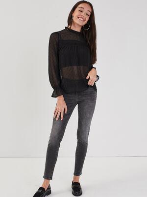Jeans skinny push up denim gris femme