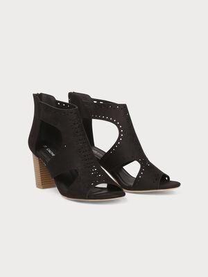 Sandales a talons ajourees noir femme