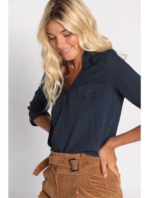 Chemise manches 34 col en V bleu marine femme