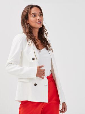 Veste droite double boutonnage blanc femme