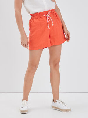 Short ample lin orange corail femme