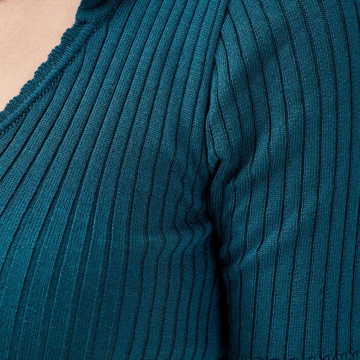 Pull avec effet côtelé vert foncé femme