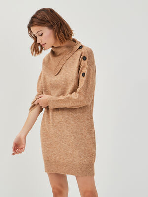 Robe ample tricot a boutons marron clair femme