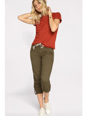Pantacourt droit ceinture vert kaki femme