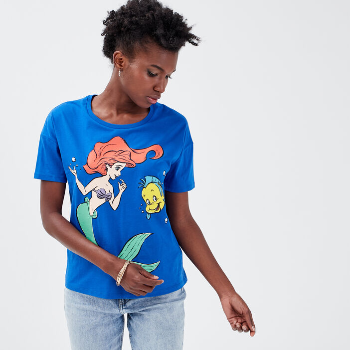 T-shirt La Petite Sirène bleu electrique femme