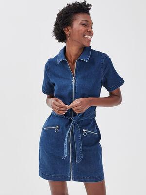 Robe droite zippee en jean denim stone femme