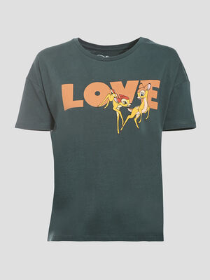 T shirt manches courtes Bambi gris fonce femme