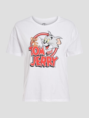 T shirt Tom et Jerry blanc femme