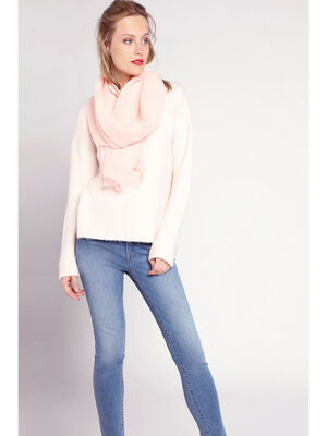 Foulard fin plisse rose clair femme
