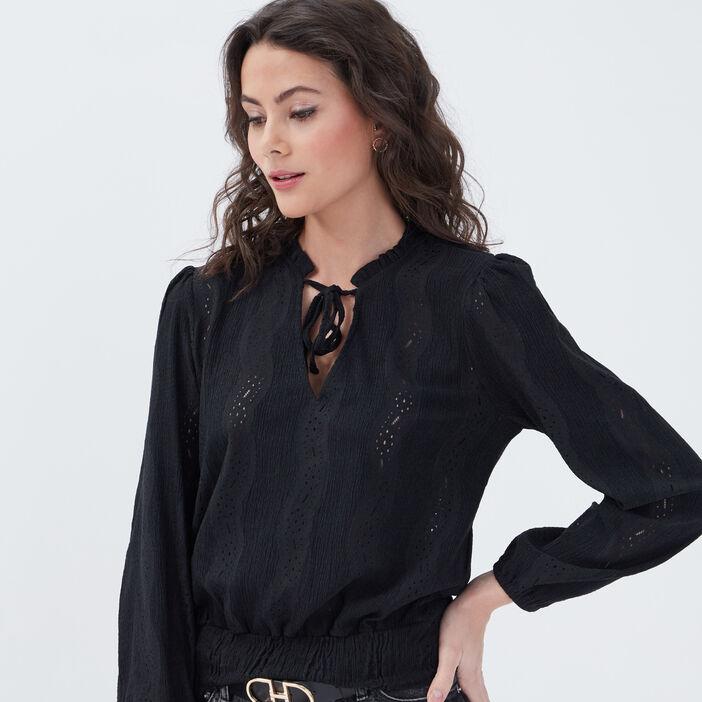 T-shirt manches longues smocké noir femme