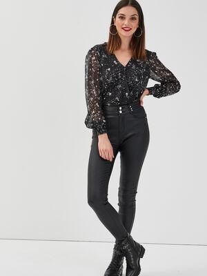 Pantalon skinny details rivets denim noir enduit femme