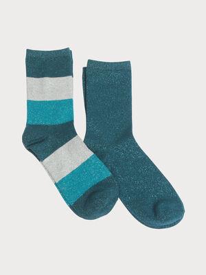 Lot 2 paires chaussettes vert fonce femme