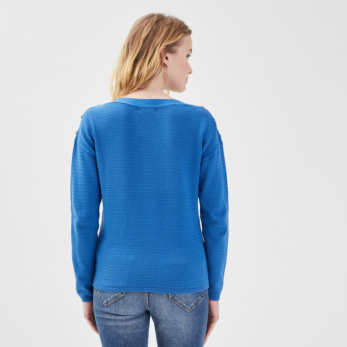 Pull boutons aux épaules bleu electrique femme