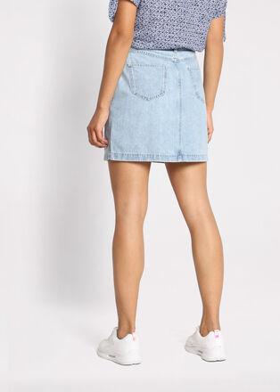 Jupe droite en jean delavee denim snow bleu femme