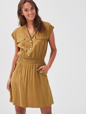 Robe evasee fluide vert olive femme