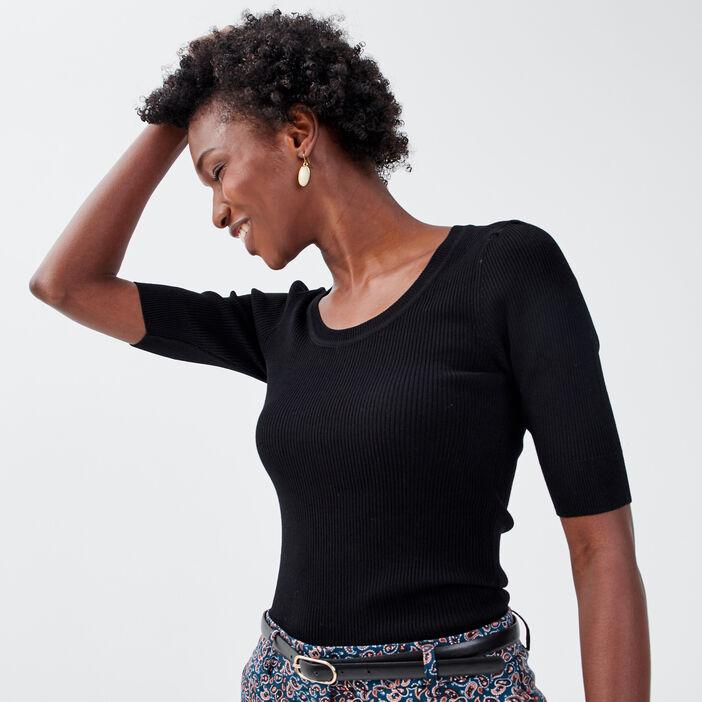 Pull manches courtes noir femme