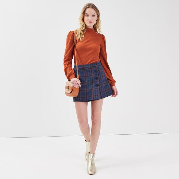 T-shirt manches longues marron cognac femme