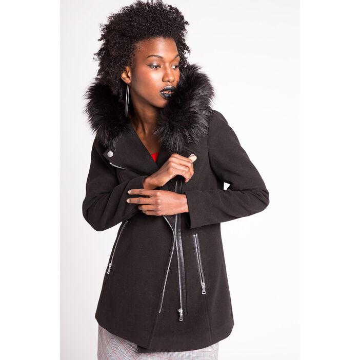 professionnel de premier plan super qualité style à la mode Manteau long léger esprit biker noir femme   Vib's