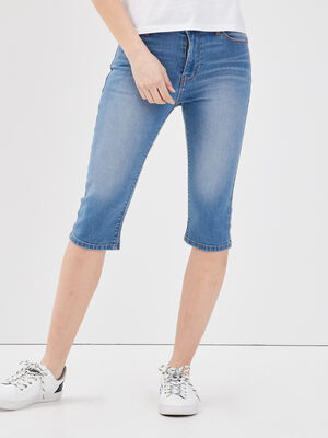 Bermuda slim en jean denim double stone femme