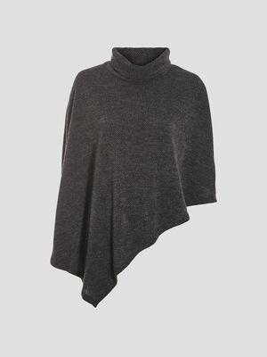 Poncho asymetrique gris fonce femme