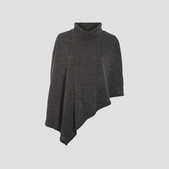 Poncho asymétrique gris foncé femme