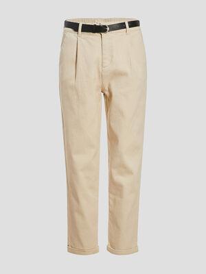 Pantalon droit taille haute ecru femme