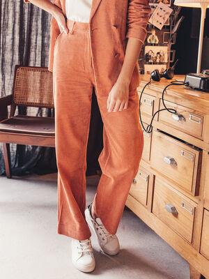 Pantalon droit en velours terracotta femme