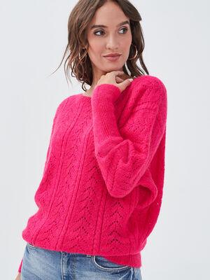 Pull ajoure rose fluo femme