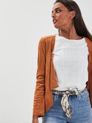 Veste cintree a pans camel femme