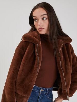 Manteau droit fausse fourrure marron cognac femme