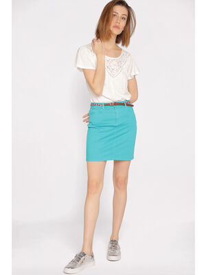 Jupe droite taille standard bleu femme
