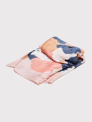 Foulard carre plisse rose poudree femme