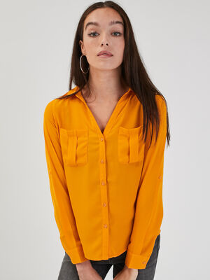 Chemise manches longues jaune moutarde femme