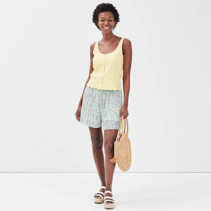 Débardeur bretelles larges jaune pastel femme