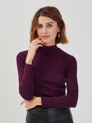 T shirt maille cotelee violet fonce femme