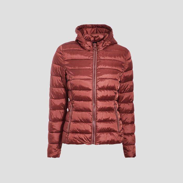 Doudoune droite zippée capuche marron cognac femme