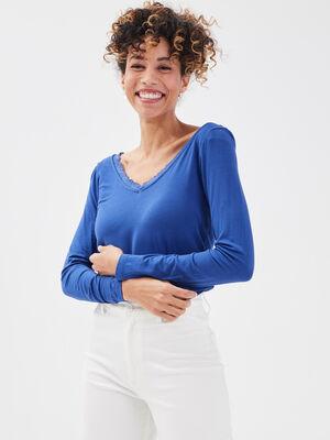 T shirt manches longues bleu roi femme
