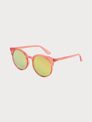 Lunettes de soleil rondes rose corail femme