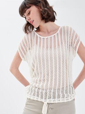 T shirt manches courtes ajoure ecru femme