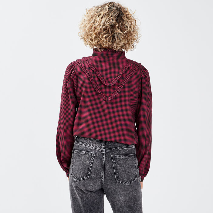 Chemise manches longues rouge femme