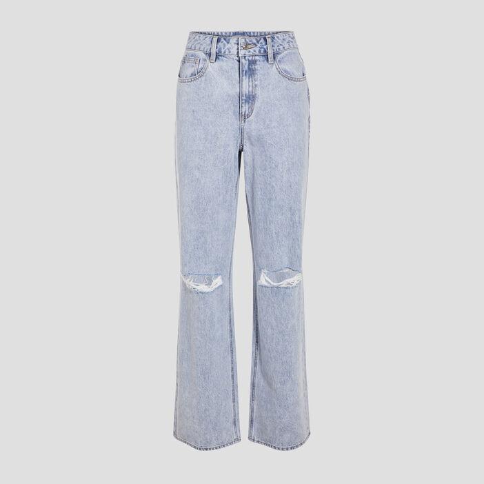 Jeans wide leg destroy denim double stone femme