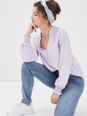 Blouse manches longues violet clair femme