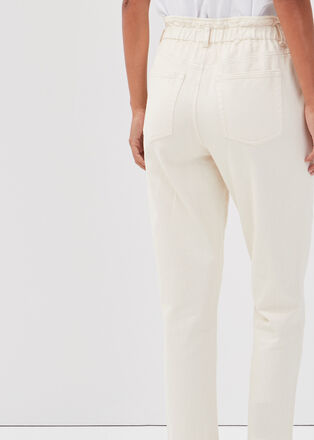 Pantalon carotte ecru femme